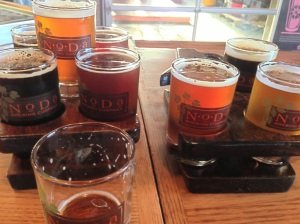 "The full lineup of NoDa brews from my visit. ""Santa Baby"" knocked it out of the park."