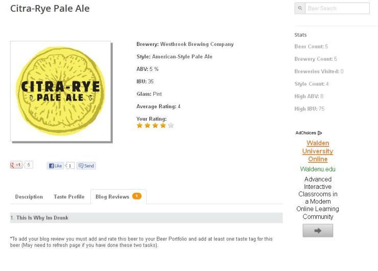 Blog review screen