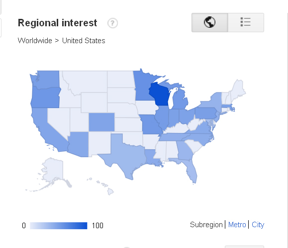 Pabst Blue Ribbon google trend map last 12 mth