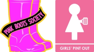 women beer group-pink boots-girls pint out